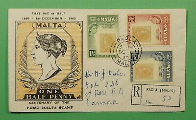 DR WHO 1960 MALTA FDC STAMP CENTENARY  C240884