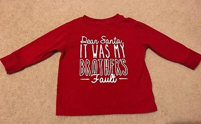 Toddler Dear Santa It Was My Brother's Fault Red LS Shirt Size 2