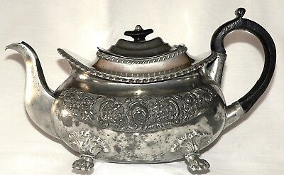 Teapot, pewter, Dixon & Son, Empire, UK Tudor rose, shamrock, thistle, c1830