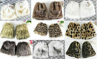 Women's 20cm Faux Fur Fluffy Shaggy Leg Warmers Boot Shoes Covers Ankle Muffs](Fluffy Boot Covers)