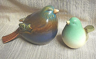 2 Glazed Ceramic COLORFUL BIRDS