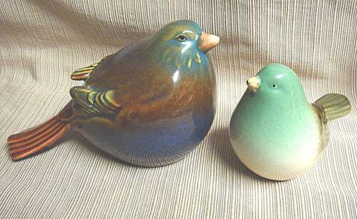 2 Glazed Ceramic COLORFUL FAT BIRDS SPARROWS
