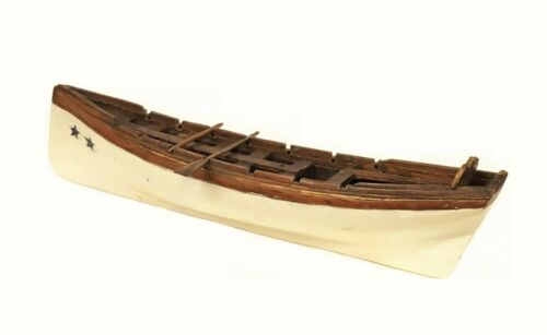 19thc American Hand Carved Sailor Made Longboat Miniature Maritime Folk Art