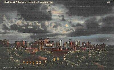 Skyline of Atlanta by Moonlight in Atlanta Georgia Postcard #A26
