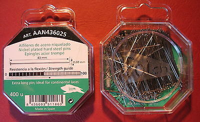 43mm x 0.60mm Extra Long 400 pins HARD STEEL BOBBIN LACE / DRESS MAKING PIN