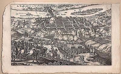 Frankfurt / Oder Ansicht mit Belagerung durch die Schweden - Original 1646!