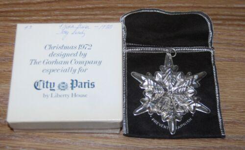 1972 The Gorham Company for City Paris Liberty House Snowflake Ornament