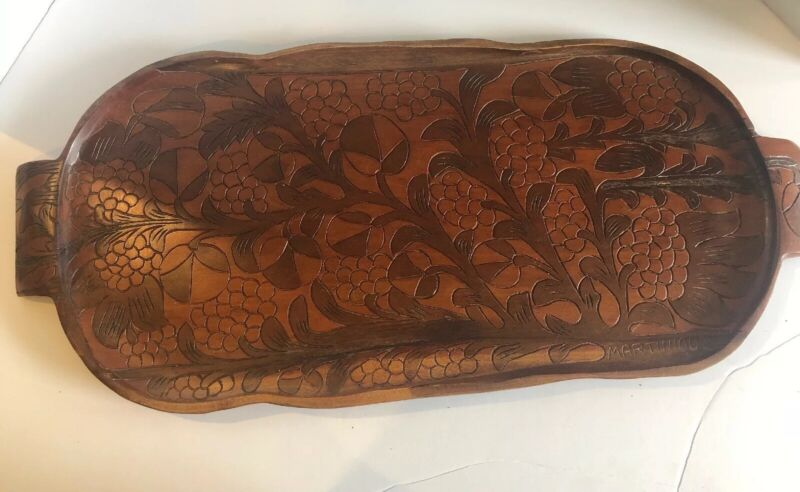 """Vintage Large Martinique Carved Wood TIKI MCM Serving Tray 12"""" X 28"""""""
