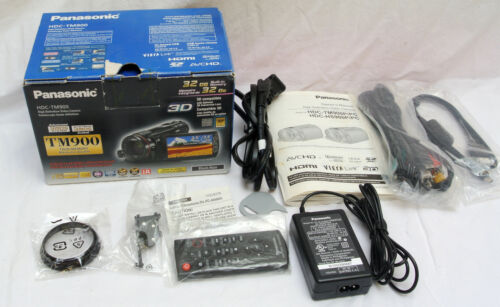 Panasonic HDC-TM900 HD Camcorder Acessories Charger Remote Manual Cables Box