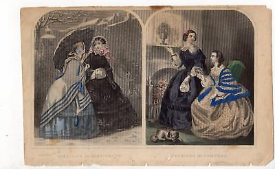 1850's ERA FASHIONS IN DIFFICULTY & COMFORT*ANTIQUE LITHOGRAPH*VICTORIAN DRESSES