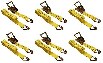 "6 PACK 1.5"" x 15' 4000 lb Ratchet Straps J Hook Heavy Duty Tie Downs New"