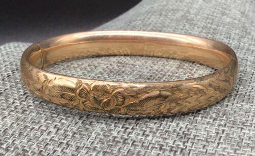 Antique L & M Co. Bracelet Engraved Flowers 1/20 Gold Filled bangle hinged fine