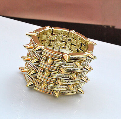 punk rock fashion spike rivet studs bracelet elasticity bangle    gold colour  on Rummage