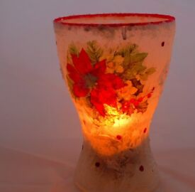 Unique Hand Made Opaque Large Candle Holder with snow and frosting effect.