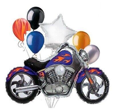Orange Latex Balloons (7pc BALLOONS BLUE Motorcycle Orange-Yellow Flames Mylar Latex any occasion)