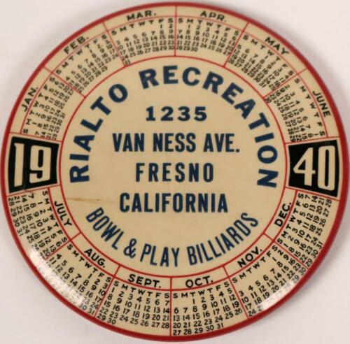 1940 Rialto Recreation Fresno California Bowling Billiard Advertising Pin Mirror