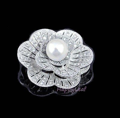 Pearl Brooch Pin with CZ flower design for Bridal Wedding Gift White or black