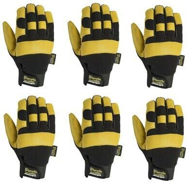 6 Pairs Wells Lamont Heavy Duty Leather Work Gloves Premium Medium Hydrahyde