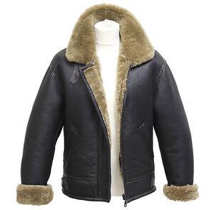 Mens-Aviator-B3-Ginger-Real-Shearling-Sheepskin-Leather-Bomber-Flying-Jacket