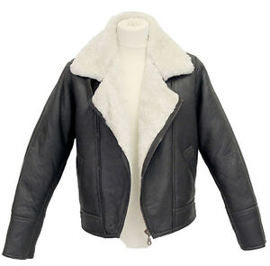 Mens-Aviator-B3-Crosszip-Real-Shearling-Sheepskin-Leather-Bomber-Flying-Jacket