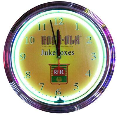 Rock-Ola Jukebox Shield Neon Wall Clock
