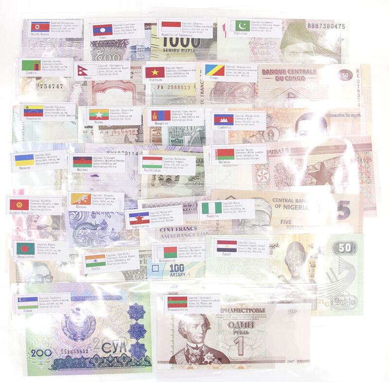 50 Pcs Different Banknotes World Foreign Paper Money UNC Collection Learn Gift
