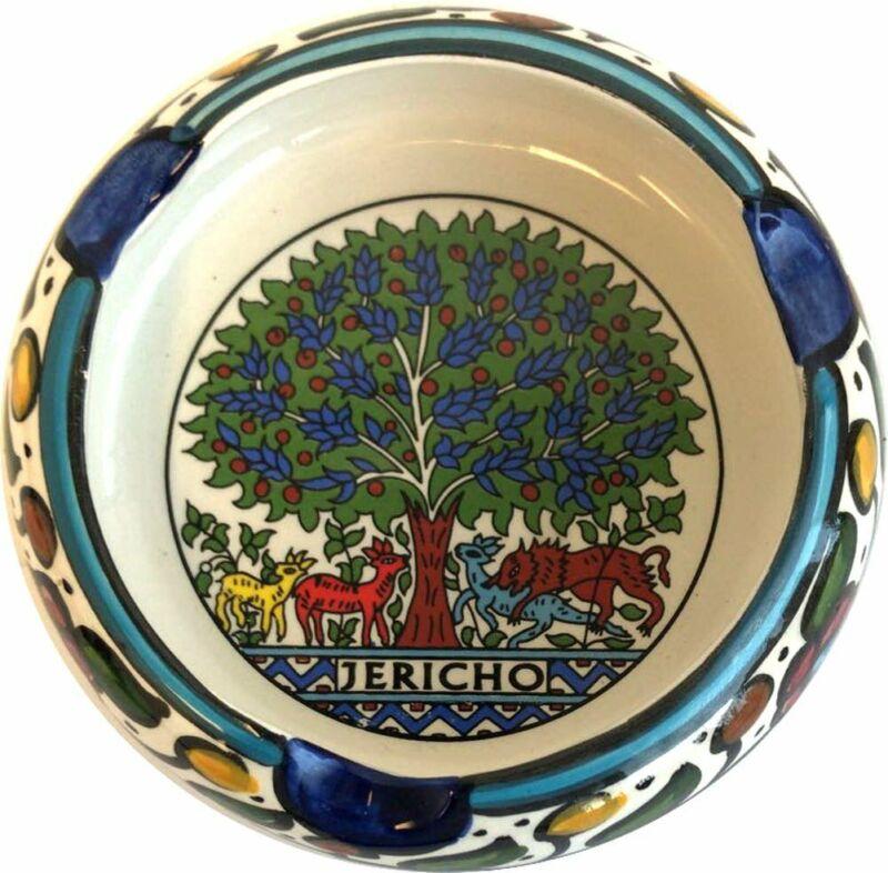 Holy Land Market Ceramic Round Ashtray with Tree of Life Mosaic - Jericho (4