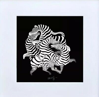 2 Victor Vasarely Zebra Art Collection Set  Hungarian-french Artist
