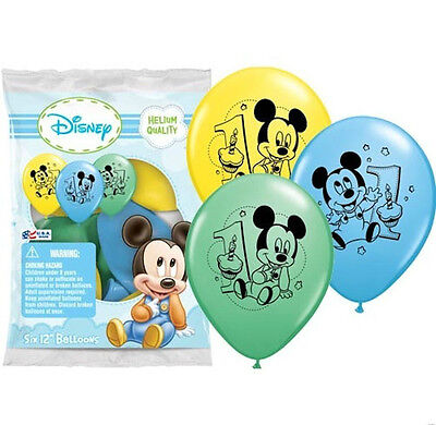12 Baby Mickey Mouse 1st First Birthday Favor Balloons Party Supply - Baby Mickey Party Decorations