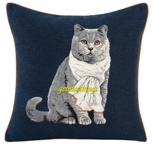 Iosis Yves Delorme Chartreux Cat French Tapestry Accent Throw Pillow Cover Blue