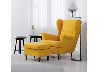 Modern Contemporary Yellow IKEA Arm Chair + Stool