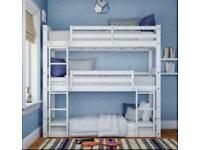 3 Tier White Pine Heavy Duty Bunk Bed