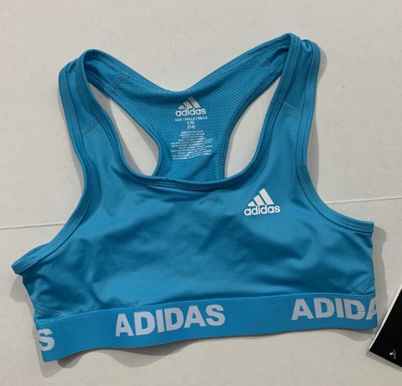 adidas NWT Girls Size Medium 10/12 DSG Gym Racerback Sports Bra Low Impact Blue