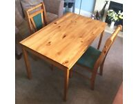 IKEA Solid Pine Kitchen Table & 2 Solid Pine Chairs Green Fabric H29in/74cmW46.5in/118cmD29.5in/75cm