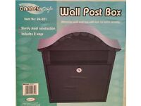 Attractive Black sturdy steel Wall Post Box with lock for extra security