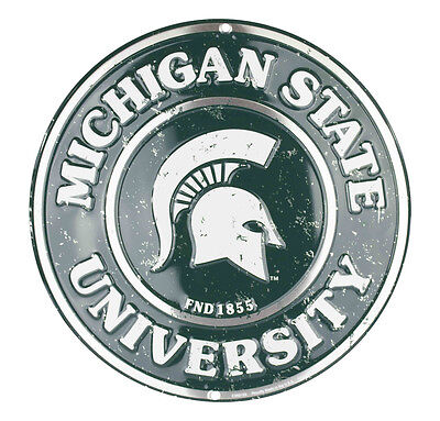 Michigan State University 12  Round Metal Sign Michigan State Spartans Man Cave