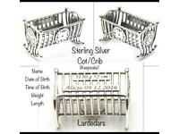 New Sterling Silver Cot/Crib baby gift FREE personalised engraving!