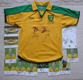 Norwich City signed Centenary 2001 - 03 Home Football Shirt + signed players photo cards