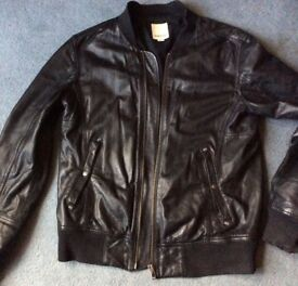 RRP £295 MENS DIESEL Black Leather Bomber Jacket, XL, VGC