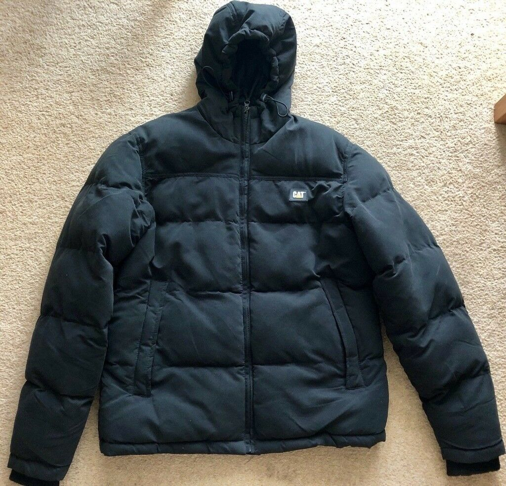 21c807cf1337 Caterpillar Mens Black Puffer Jacket with Hood - Size Small
