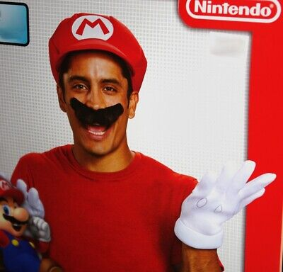 Super Mario Costume Accessories (Mens Super MARIO Bros Brothers Halloween Costume Accessories Hat Mustache)