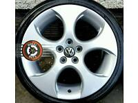 "18"" VW GTI Monza alloys 5x112 refurbished, 4 great tyres."