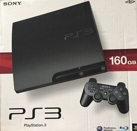 PS3 slim with box and controller (not official controller)