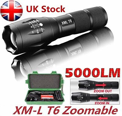 5000LM Cree XML-T6 LED Flashlight Tactical Zoomable Police Torch Lamp 18650 AAA
