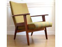 Stylish Vintage Scandinavian teak armchair. Delivery. Modern / mid century style.