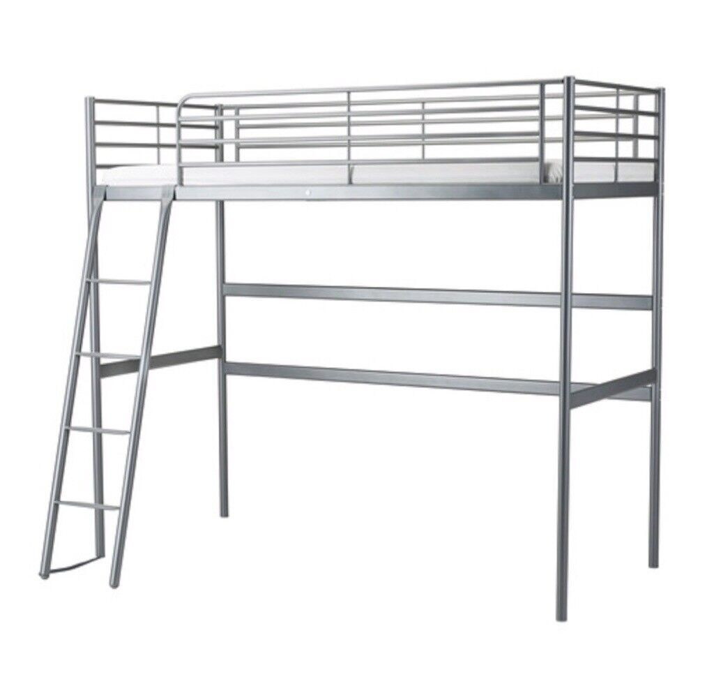 Reduced Ikea Loft Bed Frame Svarta Silver Metal Single Bed
