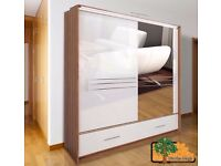 AMSTERDAM WHITE 203 Sturdy Free Standing Wooden Sliding Door Wardrobe SLIDER