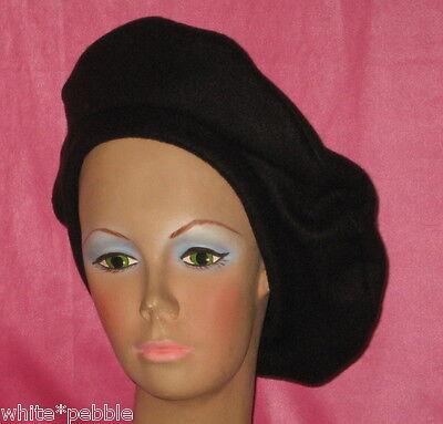 Handmade Beret - Fleece - Black - OS