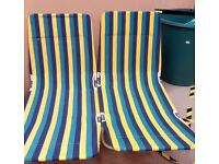 As new Pair of striped folding loungers £25 pair