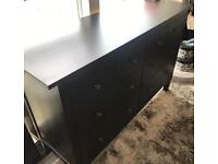 Brown-black Ikea hemnes 8 drawer chest of drawer